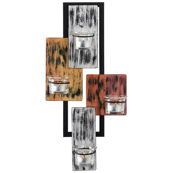 Wanddeko Square in Schwarz/Orange - Klar/Gelb, Glas/Metall (22/45/8cm) - Mömax modern living