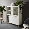 Highboard in Weiß - Silberfarben/Weiß, MODERN, Glas/Holzwerkstoff ( 101/146,20/40cm) - Modern Living