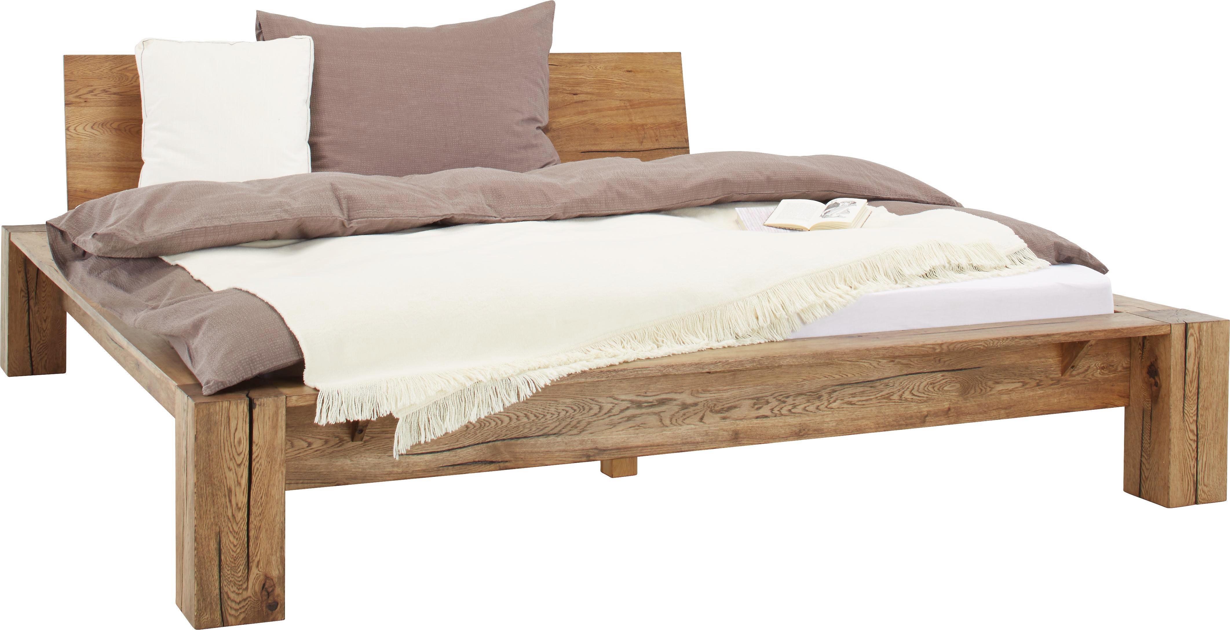 Bett in Eiche, ca. 180x200cm - Eichefarben, ROMANTIK / LANDHAUS, Holz (230/211/73cm) - ZANDIARA