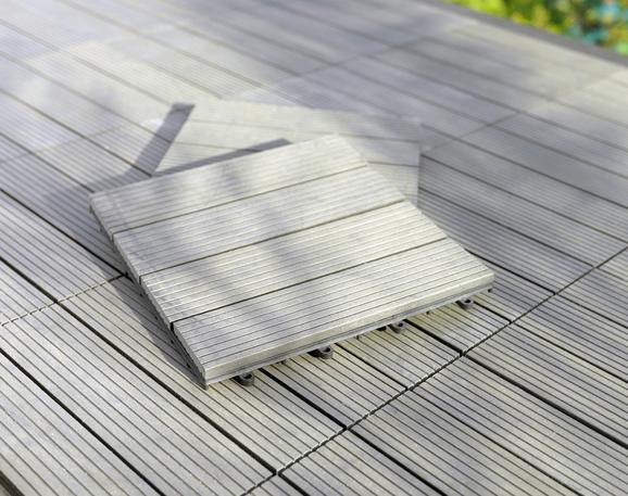 Terrassenfliese Willi in Grau ca. 30x2,2x30cm - Grau, Kunststoff (30/2,2/30cm) - Mömax modern living