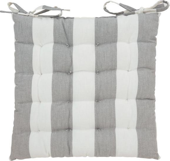 Sitzkissen Blockstreif, ca. 40x40cm - Weiß/Grau, Textil (40/40cm) - MÖMAX modern living