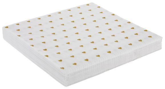 Serviette Heart Weiß - Goldfarben/Weiß, Papier (33/33cm)