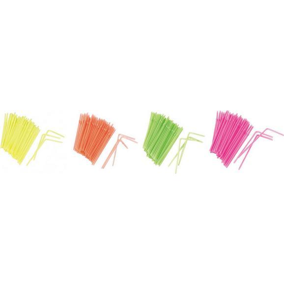 Trinkhalm Funky verschiedene Farben - Pink/Gelb, KONVENTIONELL, Kunststoff (21cm) - Mömax modern living