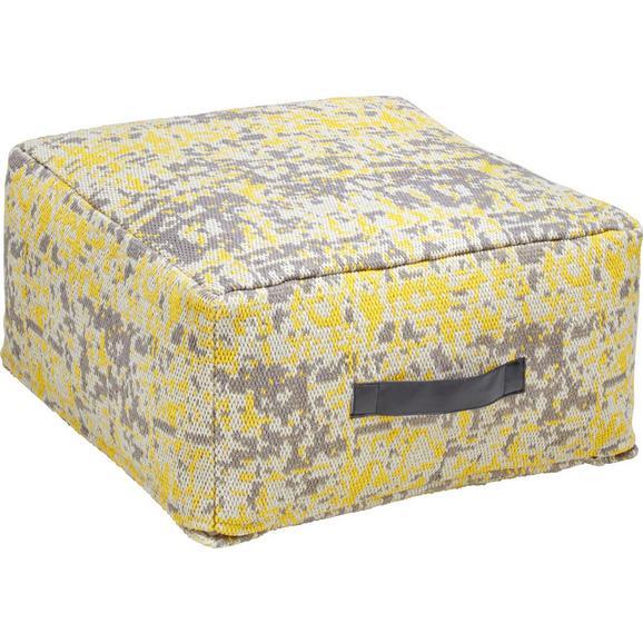 Pouf in Gelb/Grau ca. 50x25cm 'Trio' - Gelb/Grau, KONVENTIONELL, Textil (50/50/25cm) - Bessagi Home