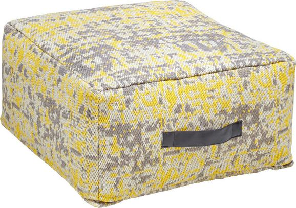 Pouf Textured Trio - Gelb/Grau, KONVENTIONELL, Textil (50/50/25cm) - premium living