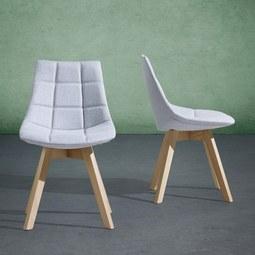 Stuhl Cleo - Buchefarben/Hellgrau, MODERN, Holz/Textil (48/80/42cm) - Mömax modern living