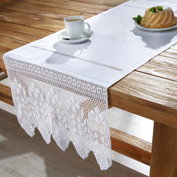 Tischdecke Jasmin ca.50x150 cm - Weiß, KONVENTIONELL, Textil (50/150cm) - Premium Living
