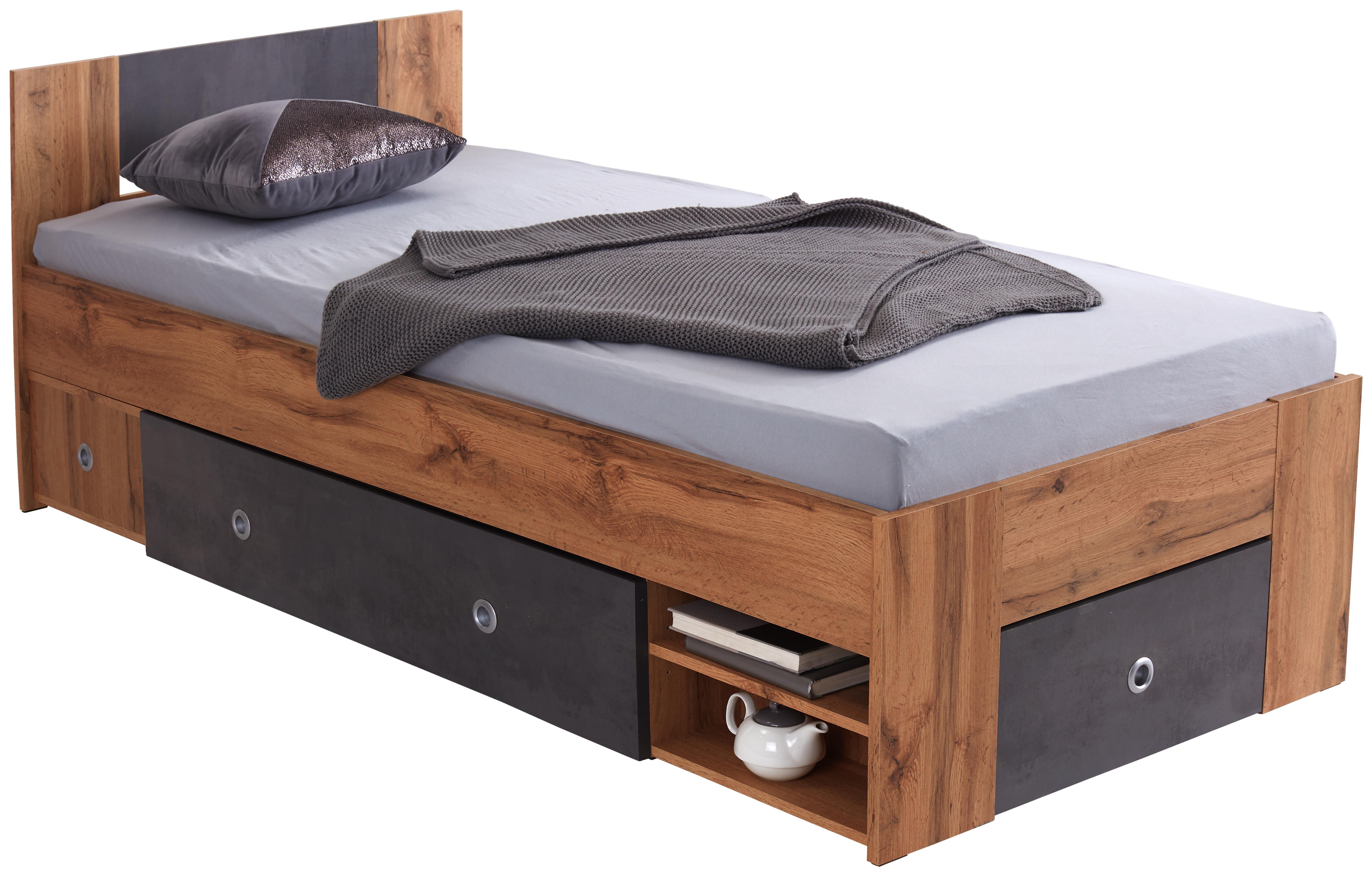 Postelja Azurro 90 - jelša, Moderno, leseni material (204/75/95cm) - Mömax modern living