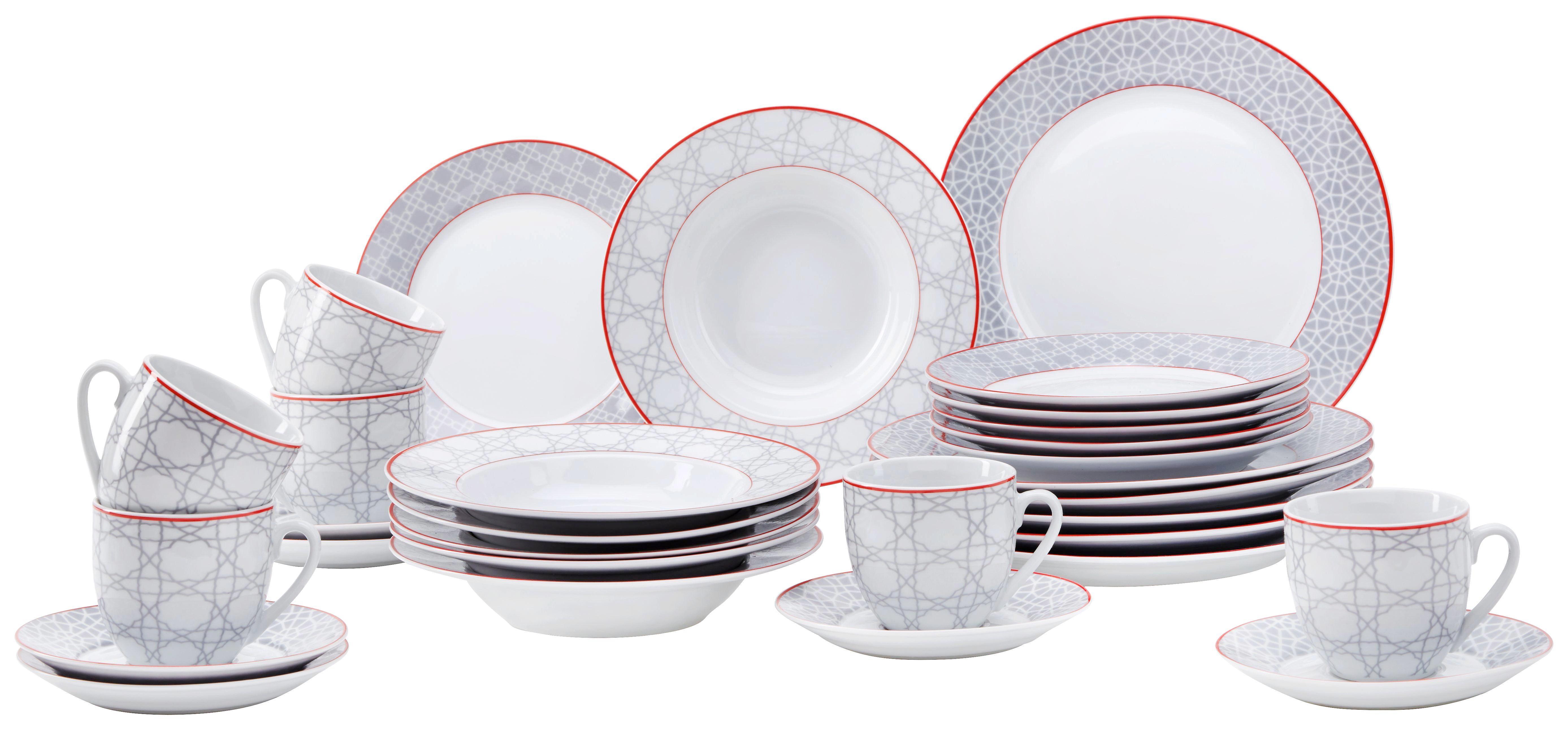 Kombiservice Bouquet 30-tlg aus Porzellan - Rot/Weiß, LIFESTYLE, Keramik (28,5/31,3/28,5cm) - MÖMAX modern living