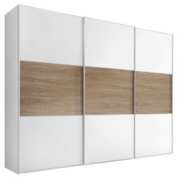Schwebetürenschrank Includo B:298cm Weiß/ Puccini Dekor - Eichefarben/Alufarben, MODERN, Holzwerkstoff/Metall (298/222/68cm) - Bessagi Home