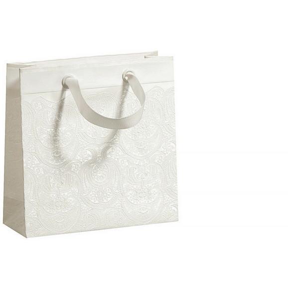 Darilna Vrečka Ornament - bela, Romantika, papir (15/15/5,5cm)