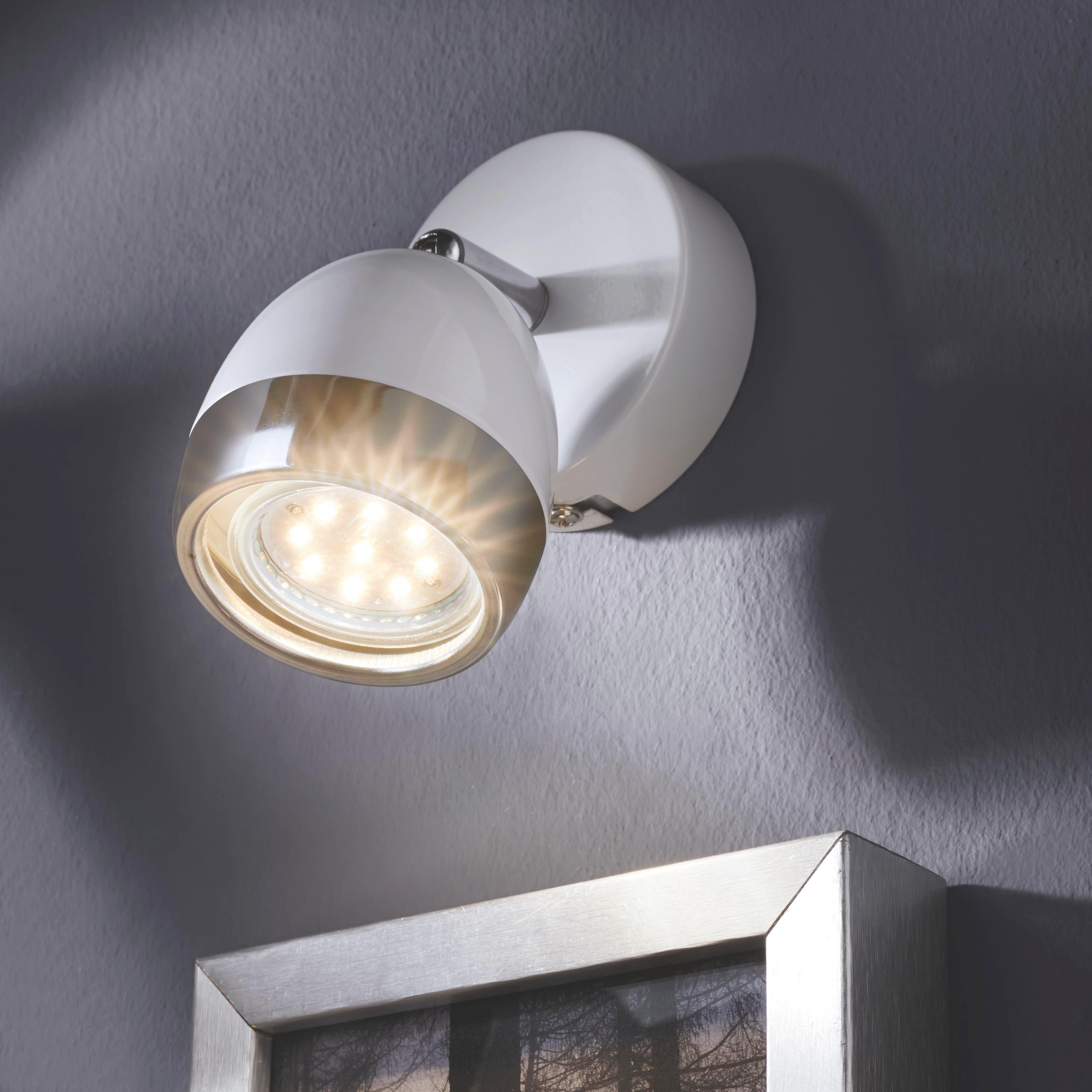 Strahler Nantes, max. 3 Watt - Chromfarben/Weiß, LIFESTYLE, Kunststoff/Metall (12,5/14cm) - MÖMAX modern living