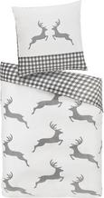 Bettwäsche My Deer Baumwollsatin 135x200/80x80cm - Grau, MODERN, Textil (135/200cm) - Mömax modern living