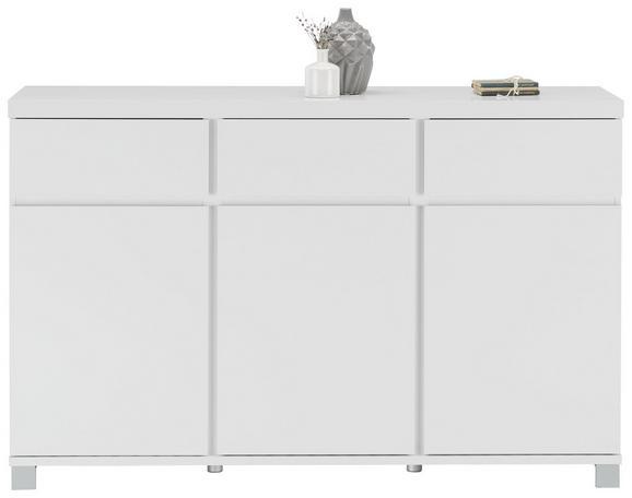 Kommode in Weiß Hochglanz - Alufarben/Weiß, MODERN, Holzwerkstoff/Metall (152/97/40cm) - Mömax modern living