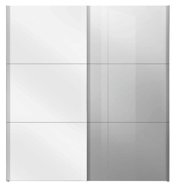 Schwebetürenschrank Weiß/Spiegel - Alufarben/Weiß, KONVENTIONELL, Holzwerkstoff/Metall (200/216/68cm) - PREMIUM LIVING