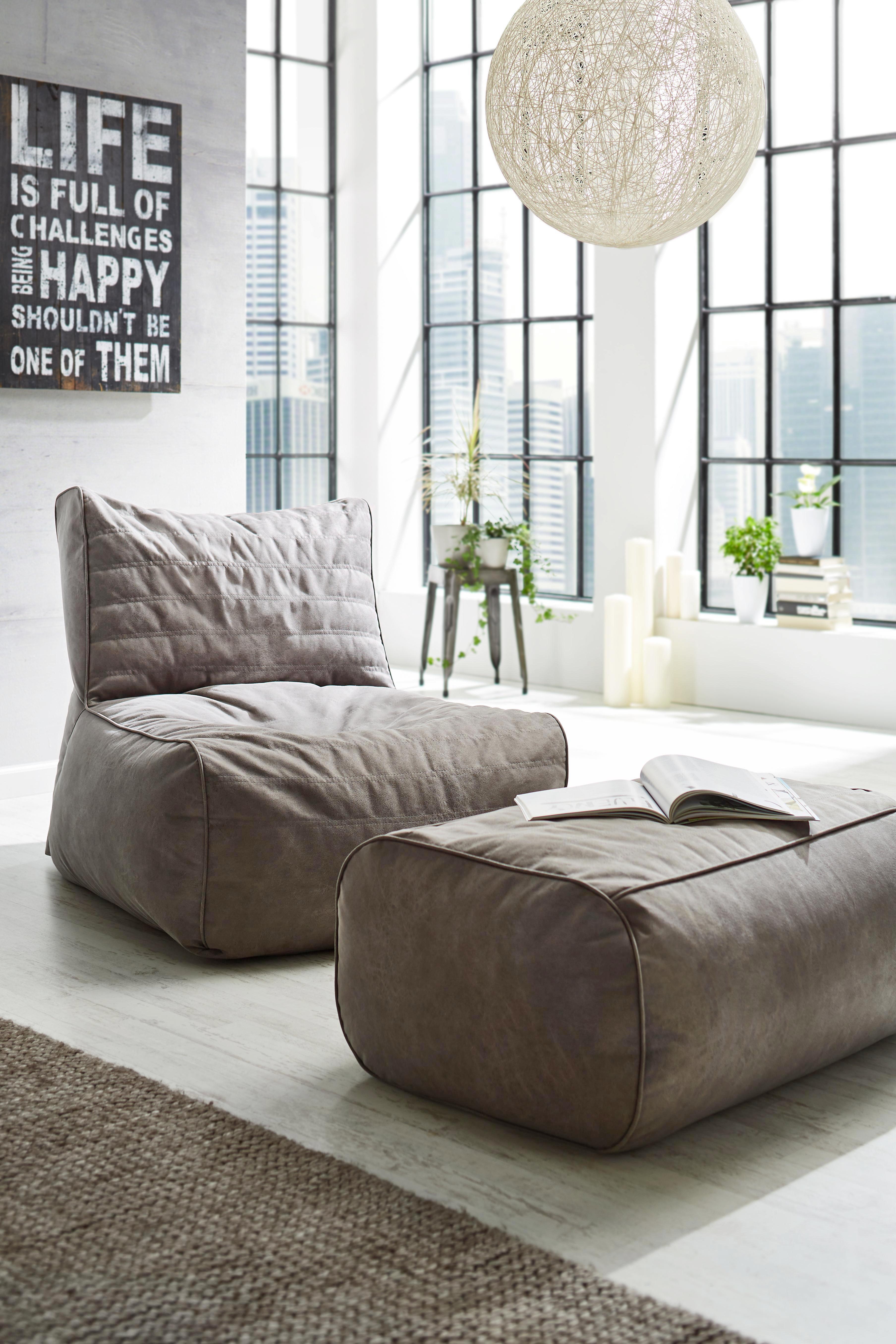 Sitzsack in Grau - Grau, Textil (120/90/90cm) - MODERN LIVING