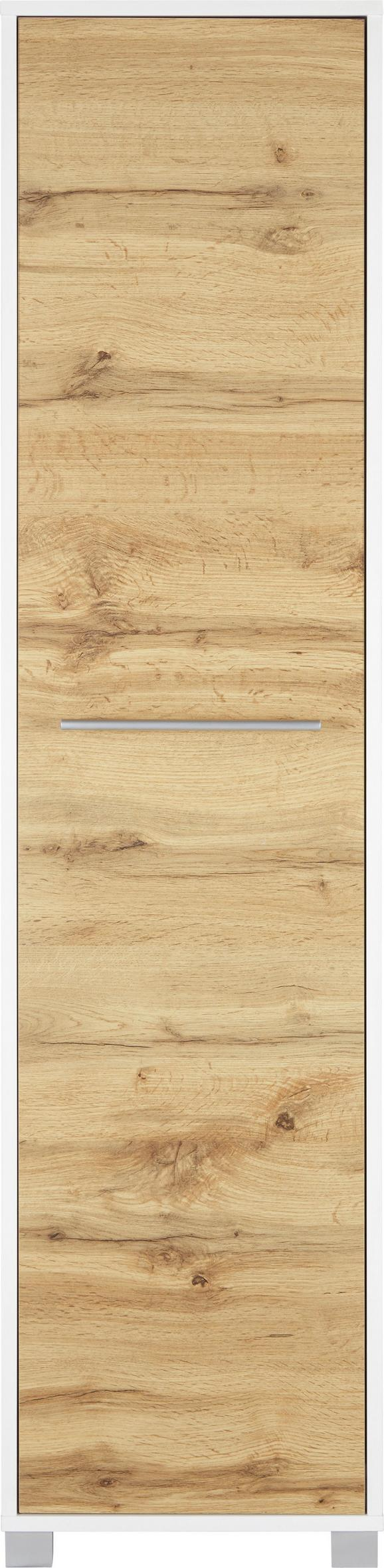 Hochschrank Weiß/Eichefarben - Chromfarben/Eichefarben, MODERN, Holzwerkstoff/Metall (40/164/33cm) - Mömax modern living