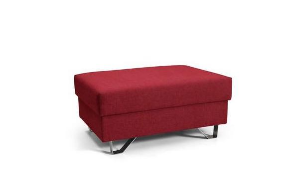 Hocker in Rot - Chromfarben/Rot, MODERN, Textil/Metall (64/43/92cm) - PREMIUM LIVING