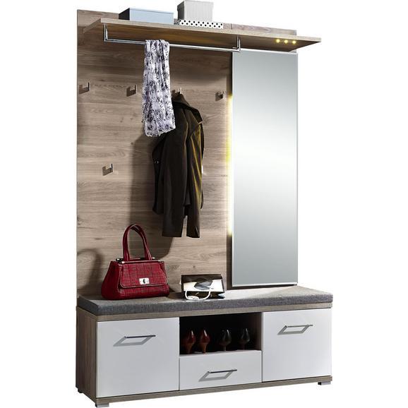 Garderobe in Weiß/Silbereiche - Weiß/Silbereichenfarben, MODERN, Holz (131/199/39cm) - Premium Living