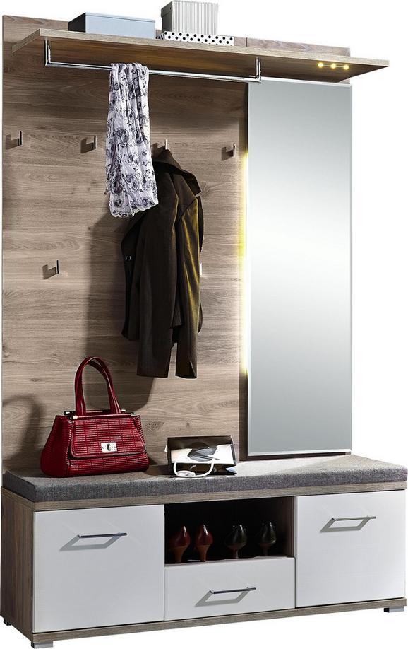 Garderobe Weiß/Silbereiche - Weiß/Silbereichenfarben, MODERN, Holz (131/199/39cm) - Premium Living