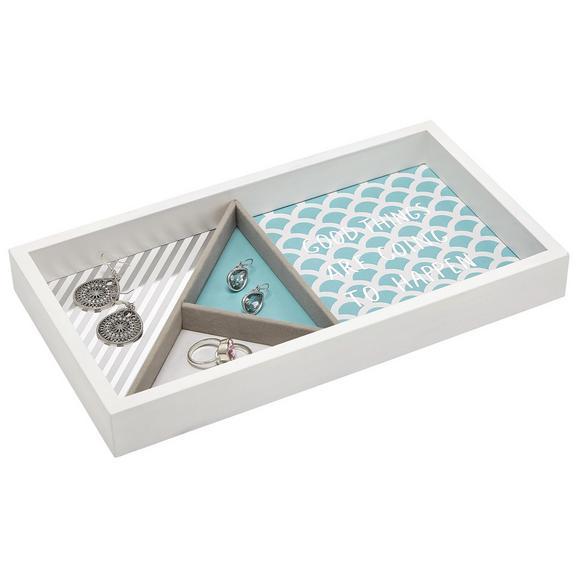 Schmuckbox Kai Blau/Weiß - Blau/Weiß, Holzwerkstoff (29,1/15,9/4cm) - Mömax modern living