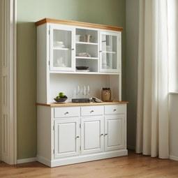 Buffet Brigitte - Weiß/Pinienfarben, MODERN, Glas/Holz (131/192/44cm) - Modern Living