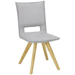 Stuhl in Grau - Eichefarben/Grau, KONVENTIONELL, Holz/Textil (47/87/62cm) - Zandiara