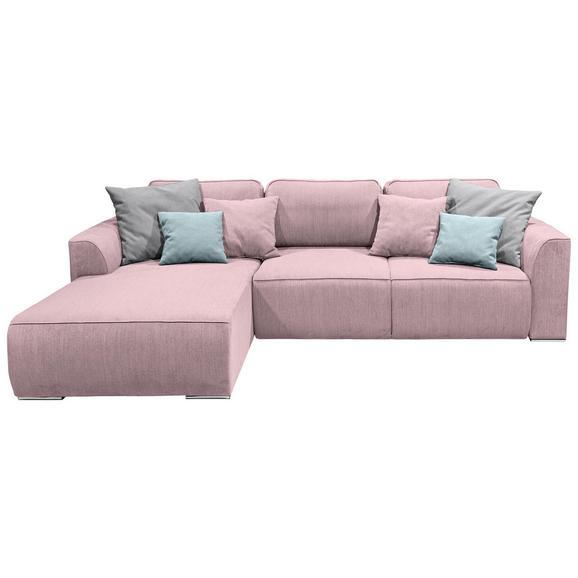 Wohnlandschaft in Pink 'Lazy Ecke' - Pink/Hellrosa, Design, Holzwerkstoff/Kunststoff (206/294cm) - Livetastic