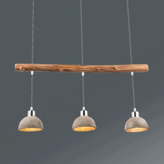 Hängeleuchte Jebel, max. 40 Watt - Silberfarben/Grau, LIFESTYLE, Holz/Metall (85/15/105cm)
