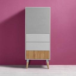Kommode in Grau/Kieferfarben 'Evlyn' - Hellgrau/Grau, MODERN, Holz/Metall (55/136/45cm) - Bessagi Home