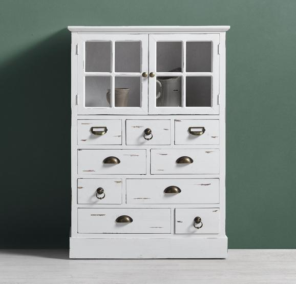 Vitrine Lewis Vintage - Weiß, MODERN, Glas/Holz (77/110/33cm) - Modern Living
