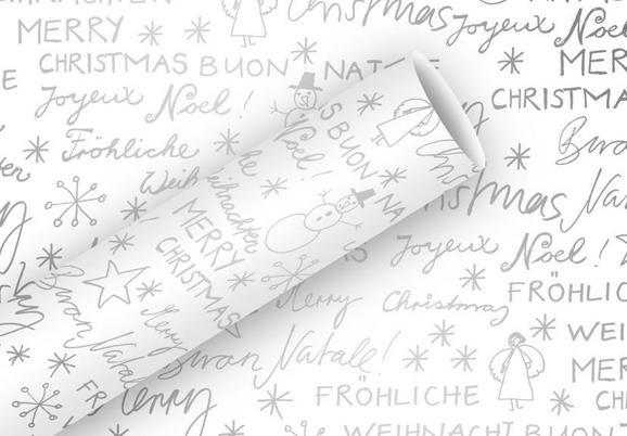 Geschenkpapier Season Of White Silber/Weiß - Silberfarben/Weiß, Papier (70/200cm)