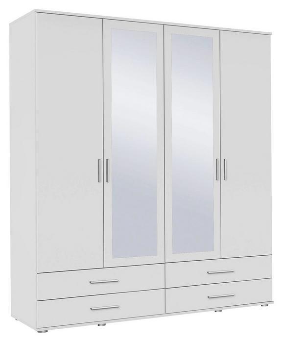 Drehtürenschrank Alpinweiß/Spiegel - Alufarben/Weiß, MODERN, Holzwerkstoff/Kunststoff (168/188/52cm) - MODERN LIVING