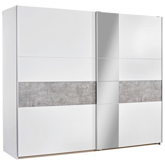 Dulap Cu Uşi Glisante Korbach - alb/culoare aluminiu, Modern, compozit lemnos/metal (261/210/59cm)
