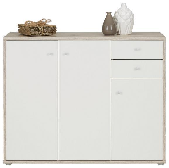 Sideboard in Sandfarben/Weiß - Sandfarben/Alufarben, MODERN, Holzwerkstoff/Kunststoff (106/86/34cm)