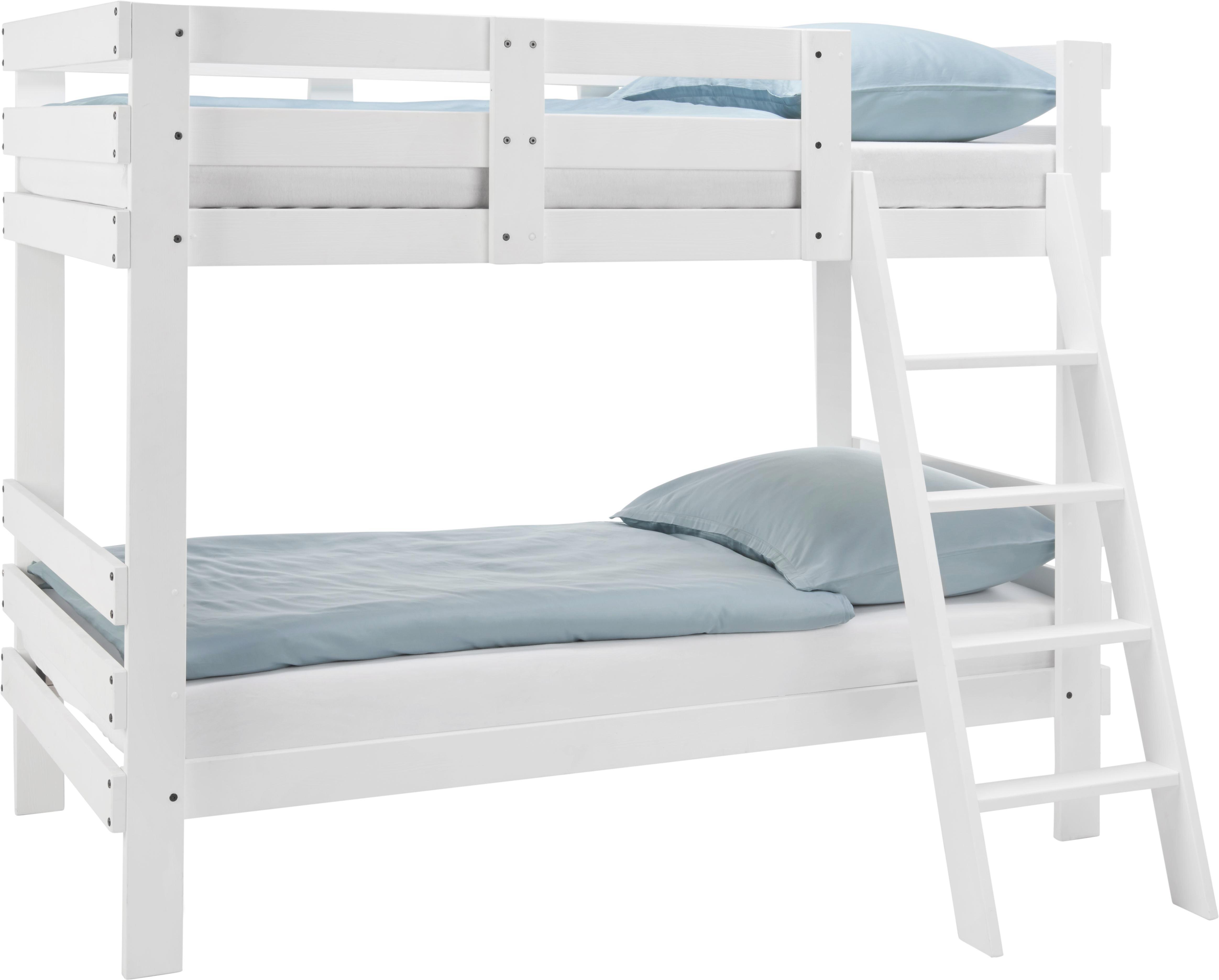 Etagenbett in Weiß, ca. 90x200cm - Weiß, MODERN, Holz (205/165/100cm) - ZANDIARA