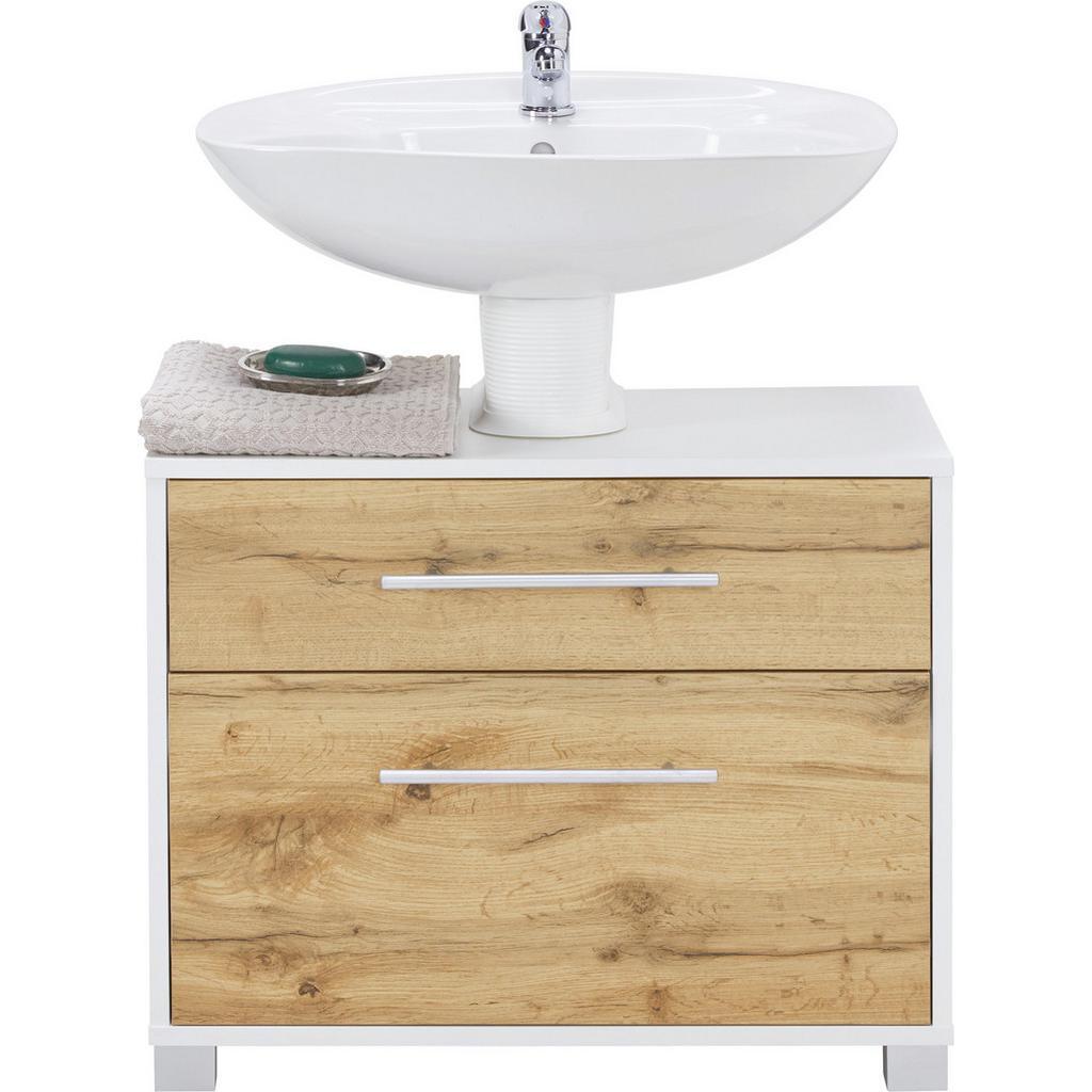 Waschbeckenunterschrank Weiß/Eiche