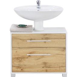 Waschbeckenunterschrank Weiß/Eichefarben - Chromfarben/Eichefarben, MODERN, Holz/Holzwerkstoff (65/53/35cm) - Mömax modern living