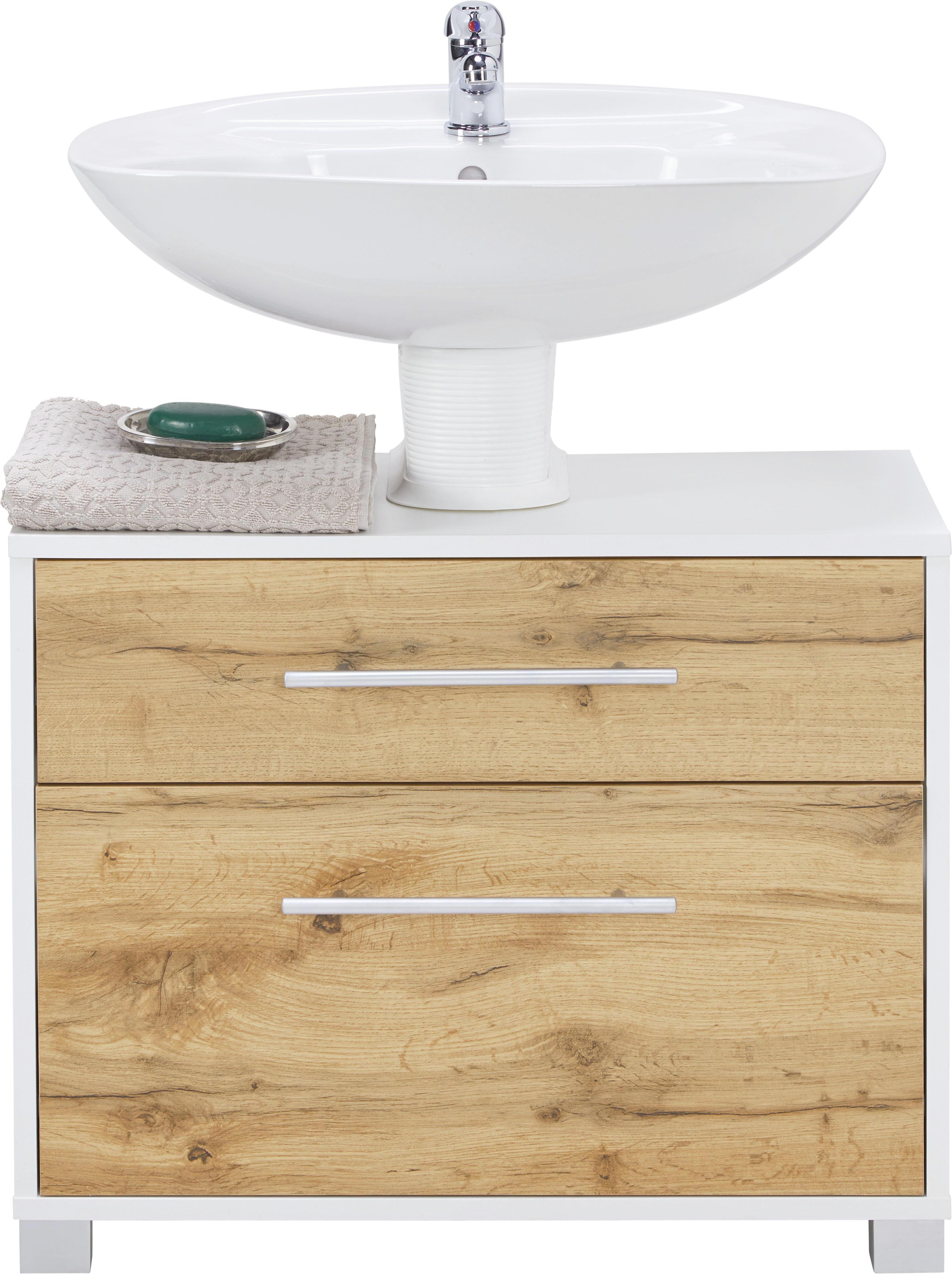 Charmant Waschbeckenunterschrank Weiß/Eichefarben   Chromfarben/Eichefarben, MODERN,  Holz/Holzwerkstoff (65