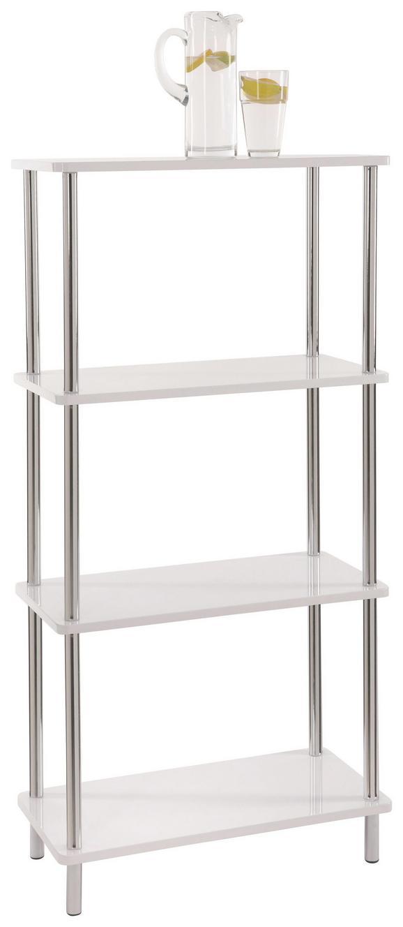 Polc Tim 2 - krómszínű/fehér, modern, műanyag/fém (60/120/30cm)