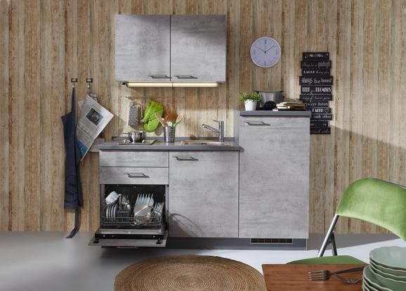 Küchenblock Beton Anthrazit/grau - Anthrazit/Grau, Holzwerkstoff (180cm)