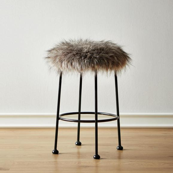 Hocker Luzie - Schwarz/Grau, MODERN, Fell/Metall (30/50/30cm) - Mömax modern living