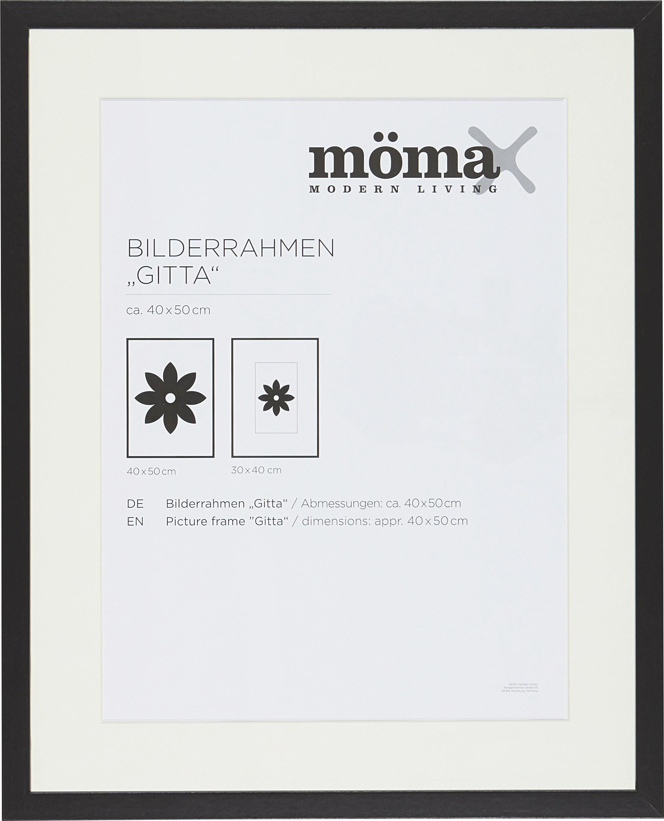 Bilderrahmen Gitta, ca. 40x50cm in Schwarz - Schwarz, MODERN, Glas/Holz (40/50cm) - MÖMAX modern living
