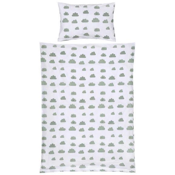 Lenjerie De Pat Pentru Copii Happy Clouds - verde/roz, Konventionell, textil (100/135cm) - Modern Living