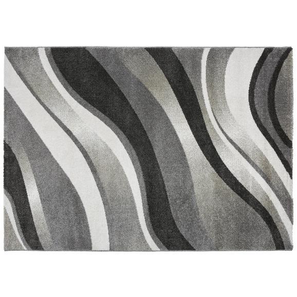 Webteppich Welle ca. 120x170cm - Anthrazit/Weiß, KONVENTIONELL, Textil (120/170cm)