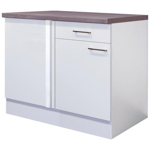 Eckunterschrank Weiß - Edelstahlfarben/Weiß, MODERN, Holzwerkstoff/Metall (110/86/60cm) - FlexWell.ai