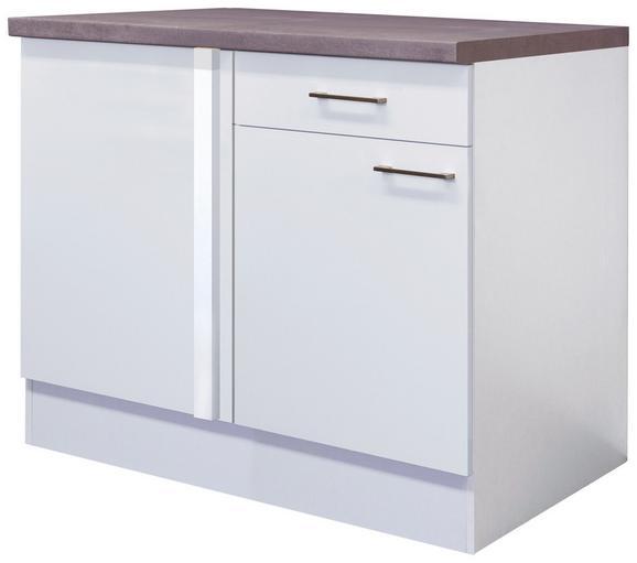 Eckunterschrank Weiß - Edelstahlfarben/Weiß, MODERN, Holzwerkstoff/Metall (110/86/60cm)