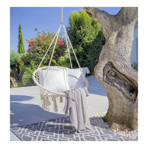 Hängesessel Valencia in Naturfarben - Weiß, MODERN, Textil/Metall (80/40/60cm) - Zandiara