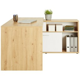 e37a9cad228513 Schreibtisch in Eichefarben Weiß - Chromfarben