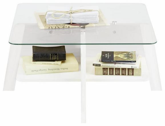 Couchtisch Weiß Glas - Klar/Weiß, MODERN, Glas/Holzwerkstoff (70/31,5/70cm) - Mömax modern living